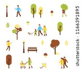 autumn park pattern with... | Shutterstock .eps vector #1166391895