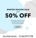50  off price discount. winter... | Shutterstock .eps vector #1166392738