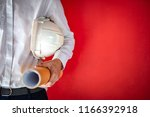 engineer or architect holding... | Shutterstock . vector #1166392918