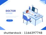 doctor at work concept banner.... | Shutterstock .eps vector #1166397748