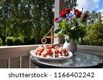 strawberry cream cake and... | Shutterstock . vector #1166402242