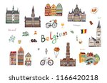 architecture and icons with... | Shutterstock . vector #1166420218