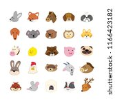set of cute animals faces.... | Shutterstock .eps vector #1166423182
