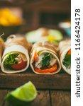 tortilla wraps with vegetables. ...   Shutterstock . vector #1166424178