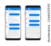 mobile modern ui kit messenger... | Shutterstock .eps vector #1166425555