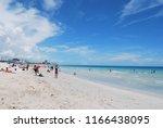 miami tourist beach   august 22 ... | Shutterstock . vector #1166438095