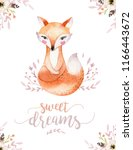 cute baby fox  deer animal... | Shutterstock . vector #1166443672