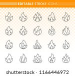 fire thin line icons set.... | Shutterstock .eps vector #1166446972