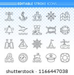 marine thin line icons set.... | Shutterstock .eps vector #1166447038