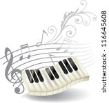 piano keys  treble clef and... | Shutterstock .eps vector #116645608