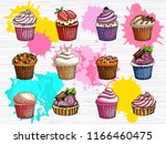cupcakes vector set isolated.... | Shutterstock .eps vector #1166460475
