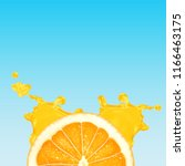 orange slice with splash of... | Shutterstock .eps vector #1166463175