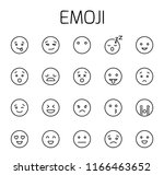 emoji related vector icon set.... | Shutterstock .eps vector #1166463652