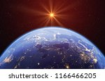 planet earth with the sun and... | Shutterstock . vector #1166466205