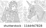 fantasy coloring pages.... | Shutterstock .eps vector #1166467828