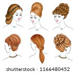 long braids creative brown hair ... | Shutterstock .eps vector #1166480452