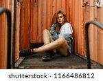 fashionable beautiful young... | Shutterstock . vector #1166486812