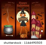 cute girl in a witch costume ... | Shutterstock .eps vector #1166490505