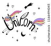 unicorn abstract  lettering... | Shutterstock .eps vector #1166494045