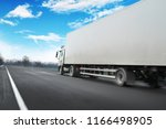 white truck driving fast and a... | Shutterstock . vector #1166498905