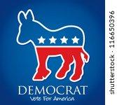 """Democrat Vote For America"" election card/poster in vector format. - stock vector"