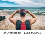 triathlon swim sport man on... | Shutterstock . vector #1166506918