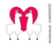 cute llama with pink heart | Shutterstock .eps vector #1166522455