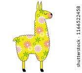 cute llama with pink heart | Shutterstock .eps vector #1166522458