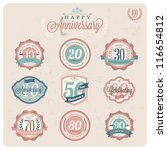 Collection of Vintage-Retro styled Labels of anniversary - vector illustration