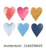 watercolor vector hearts | Shutterstock .eps vector #1166558635