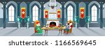 cartoon castle hall with king... | Shutterstock .eps vector #1166569645