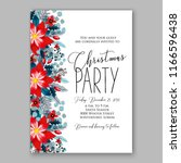 red poinsettia christmas party...   Shutterstock .eps vector #1166596438