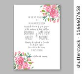 pink peony wedding invitation | Shutterstock .eps vector #1166607658