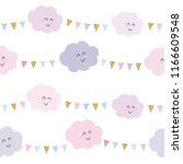 kawaii clouds and bunting flags ... | Shutterstock .eps vector #1166609548