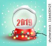 christmas snow ball 2019...   Shutterstock .eps vector #1166630425