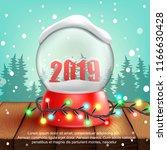 christmas snow ball 2019...   Shutterstock .eps vector #1166630428