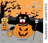 halloween cat devil | Shutterstock .eps vector #1166673922