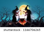 happy halloween background with ... | Shutterstock .eps vector #1166706265