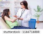 pregnant woman visiting doctor...   Shutterstock . vector #1166716888