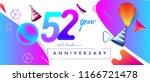 52nd years anniversary logo ... | Shutterstock .eps vector #1166721478