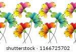 seamless colorful flower border | Shutterstock .eps vector #1166725702
