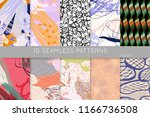collection of seamless patterns.... | Shutterstock .eps vector #1166736508