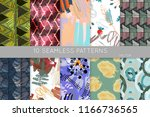 collection of seamless patterns.... | Shutterstock .eps vector #1166736565