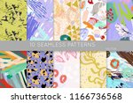 collection of seamless patterns.... | Shutterstock .eps vector #1166736568