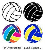 volleyball ball icon set with... | Shutterstock .eps vector #1166738062