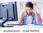 frustrated young man due to... | Shutterstock . vector #1166744542