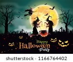 halloween night background  old ... | Shutterstock .eps vector #1166764402