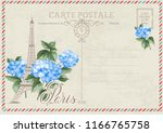 old blank postcard with post... | Shutterstock .eps vector #1166765758