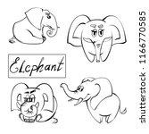 extra happy elephant set.... | Shutterstock .eps vector #1166770585