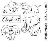 extra happy elephant set.... | Shutterstock .eps vector #1166770588